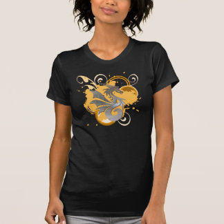 Silver Graphic Dragon Tattoo Distressed Tee-honey T-Shirt