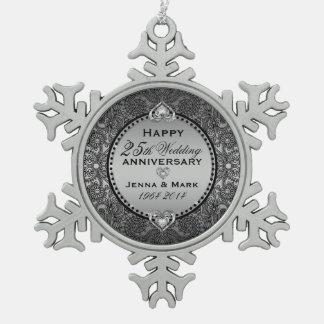 Silver Gray 25th Wedding Anniversary Snowflake Pewter Christmas Ornament