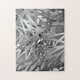 Silver & Gray Abstract Branches Jigsaw Puzzle