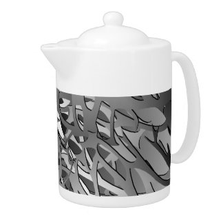 Silver & Gray Abstract Branches Teapot