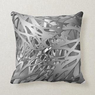 Silver & Gray Abstract Branches Throw Pillow