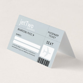 Silver Gray Airline Ticket Escort Place Card