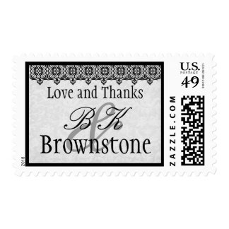 Silver Gray and Black Love and Thanks Wedding Postage Stamps