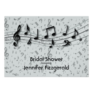 Silver Gray and black music Notes Bridal Shower Personalized Announcement