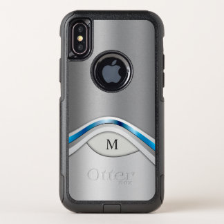 Silver Gray and Blue Modern Metallic and Monogram OtterBox Commuter iPhone X Case