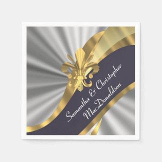 Silver gray and gold fleur de lys paper napkin