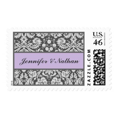 SILVER GRAY and LAVENDER Damask Wedding Stamp by JaclinArt