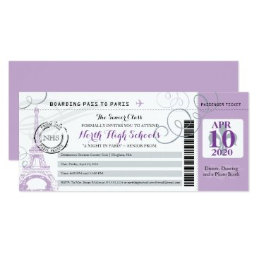 Beach Themed Silver Gray and Purple Night in Paris School Prom Card