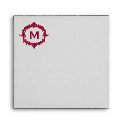 Silver Gray and Red Monogram Square Wedding Envelopes