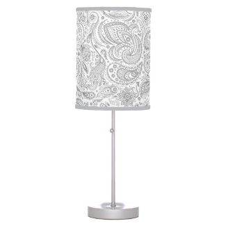 Silver Gray And White Floral Paisley Pattern Table Lamp