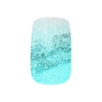 Silver Gray Aqua Teal Ocean Glitter #1 Minx Nail Art
