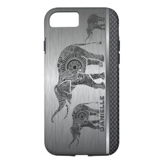 Silver Gray Background & Black Floral Elephant iPhone 7 Case