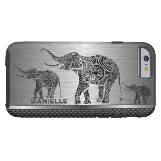 Silver Gray Background & Black Floral Elephant Tough iPhone 6 Case