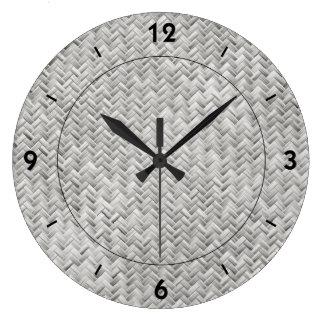 Silver Gray Basket Weave Geometric Pattern Large Clock
