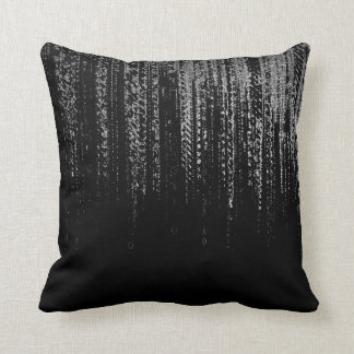 Silver Gray Black Cyber Matrix Rain Silver Minimal Throw Pillow