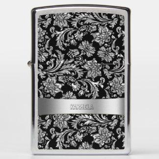 Silver Gray & Black Floral Damasks Zippo Lighter
