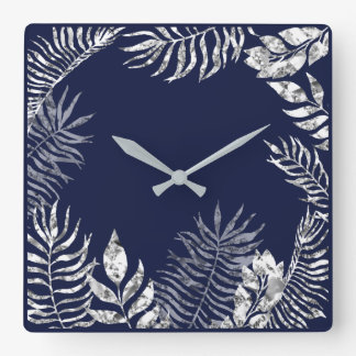 Silver Gray Blue Navy  Palm Botanical Metallic Square Wall Clock