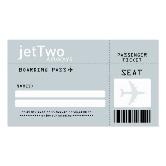Silver Gray Boarding Pass Escort/Seating Card Double-Sided Standard Business Cards (Pack Of 100)