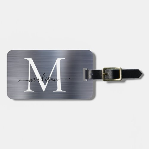 Silver Gray Brushed Metal Script Monogram Cute Luggage Tag