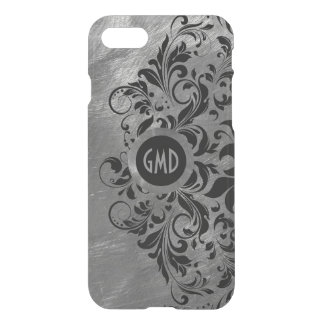 Silver Gray Brushed Steel & Black Lace iPhone 8/7 Case