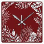 Silver Gray Burgundy Red Palm Botanical Metallic Square Wall Clock