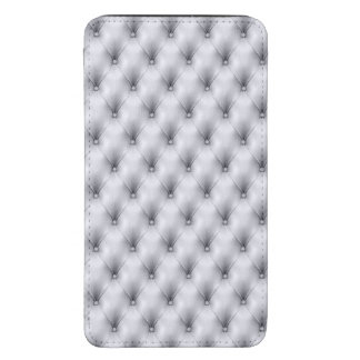 Silver Gray Buttoned Tuft Leather Plush Galaxy S5 Pouch