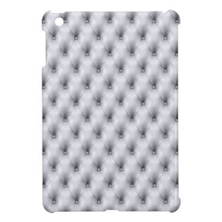 Silver Gray Buttoned Tuft Leather Plush iPad Mini Case