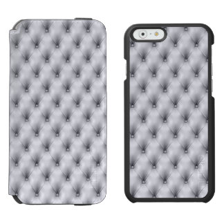 Silver Gray Buttoned Tuft Leather Plush iPhone 6/6s Wallet Case
