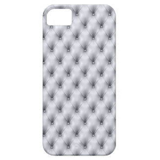 Silver Gray Buttoned Tuft Leather Plush iPhone SE/5/5s Case
