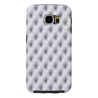 Silver Gray Buttoned Tuft Leather Plush Samsung Galaxy S6 Case