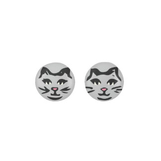 SILVER GRAY CAT With Black Whiskers Earrings