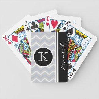 Silver Gray Chevron Black Monogram Name Custom Bicycle Playing Cards