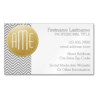 Silver Gray Chevrons Custom Monogram Magnetic Business Cards (Pack Of 25)