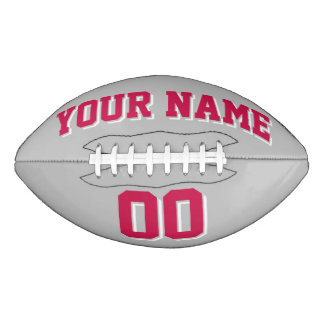 SILVER GRAY CRIMSON RED AND WHITE Custom Football