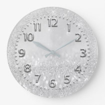 Silver Gray Crystals Glitter Spark Nimbers Metal Large Clock