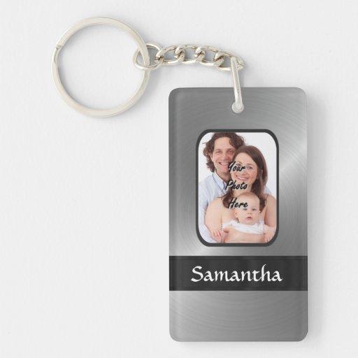 Silver gray custom photo keychain