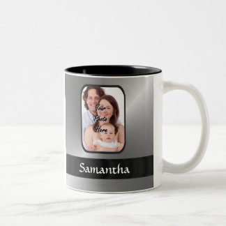 Silver gray custom photo Two-Tone coffee mug
