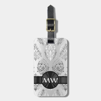 Silver gray damask luggage tag