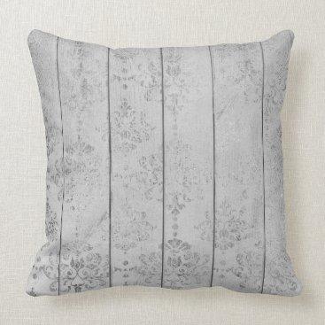 Silver Gray Damask Metallic Wood Cottage Home Throw Pillow