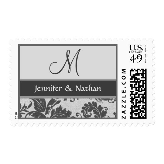 SILVER & GRAY Damask Monogram Wedding Stamp