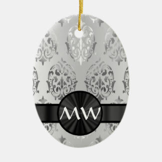 Silver gray damask monogrammed ceramic ornament
