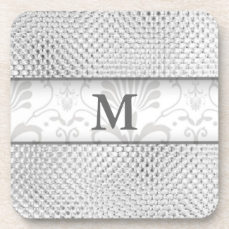 Silver Gray Damask Monogrammed