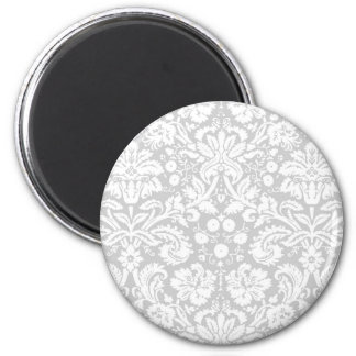 Silver gray damask pattern 2 inch round magnet
