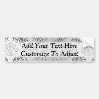 Silver gray damask pattern bumper sticker