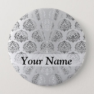Silver gray damask pattern button