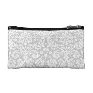 Silver gray damask pattern cosmetic bag