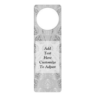 Silver gray damask pattern door hanger