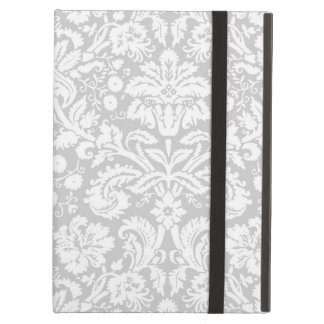 Silver gray damask pattern iPad air case