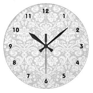 Silver gray damask pattern large clock