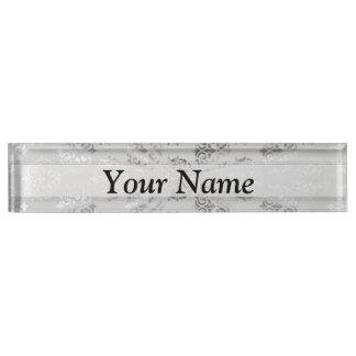 Silver gray damask pattern name plate